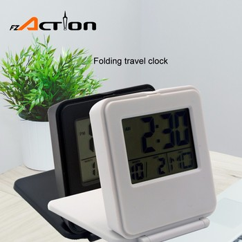 Household Cheap Mini Portable Blue Backlight Alarm Flip Clock With Temperature For Traveling