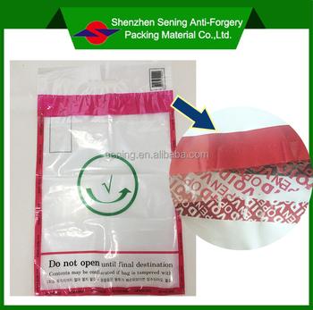 Custom Design High Quality Pet Pe Void Security Tamper Evident Bag Envelopes