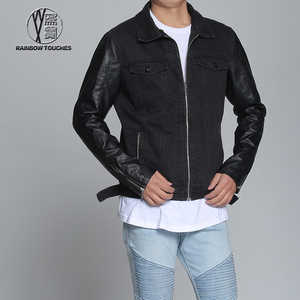 Top design fashion custom men jeans jacket with leather sleeves