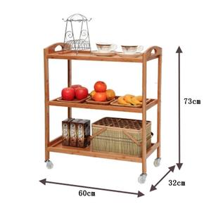 Bamboo Mobile Dining Car Kitchen Serving Trolley Car