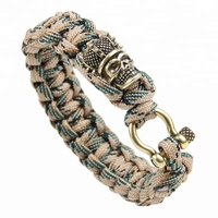Women men hand woven copper skull head charm nylon paracord survival wristband bracelet for outdoor