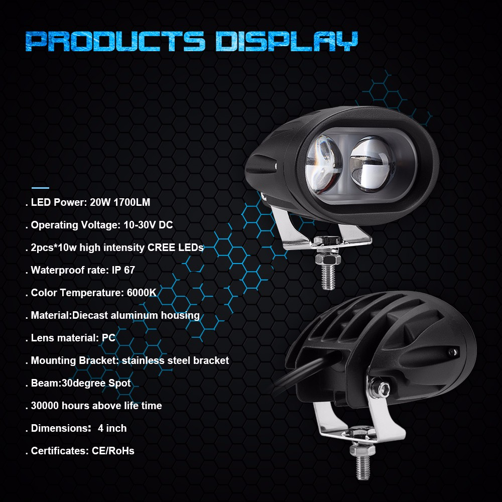 Hot sales 4 inch led work light oval 20w 4D lens mini motorcycle led driving light