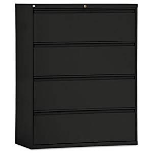New-Alera LA544254BL - Four-Drawer Lateral File Cabinet, 42w x 19-1/4d x 54h, Black - ALELA544254BL