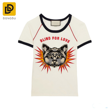 crew neckline animal pattern printing knit short sleeve t-shirt