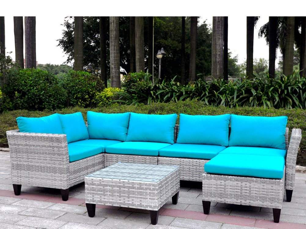 Get Quotations · 7 Pieces Outdoor Wicker Patio Sofa Set With Cushions,  Sectional Conversation Sofa Couch Set With