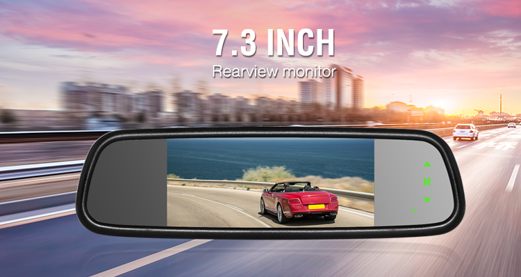 7 inch rearview car mirror monitor with 3 video inputs