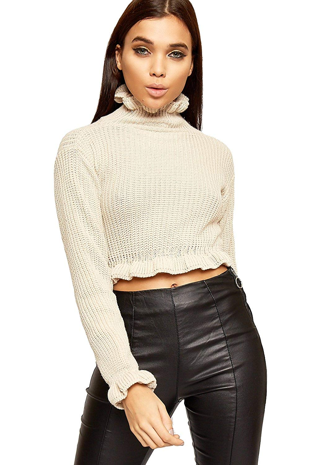 48f9ade999d83 Get Quotations · WEARALL Women s Cable Knitted Ruffle Trim Long Sleeve High  Neck Top Cropped Jumper