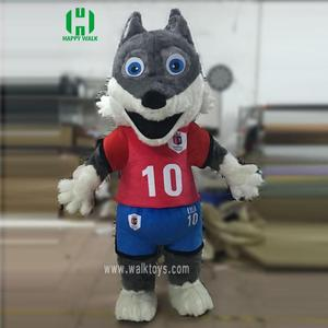 2018 world cup mascot costume long fur fox plush inflatable costume for adult