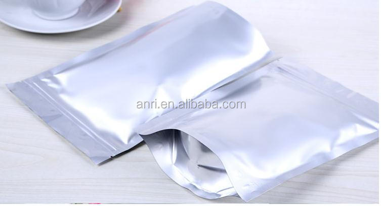 100pcs Silver High Quality Aluminum Foil Mylar Bag Pouches Stand Up with Zipper for <strong>Food</strong> 14*19cm +7cm