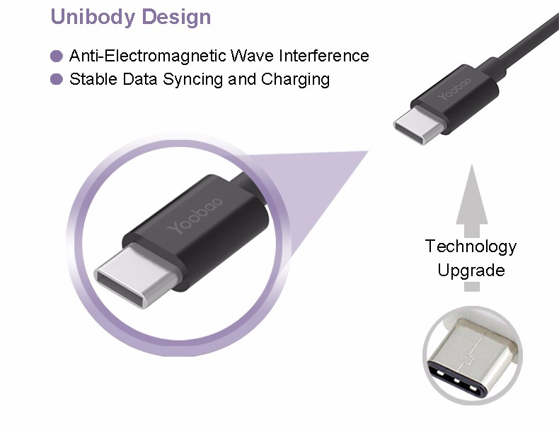 YOOBAO USB C 3.1 Type-C male to USB-B 2.0 male cable Supper Speed for Macbook