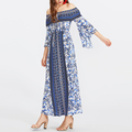 Tie neck off shoulder floral print maxi fluted three quarter sleeve dresses
