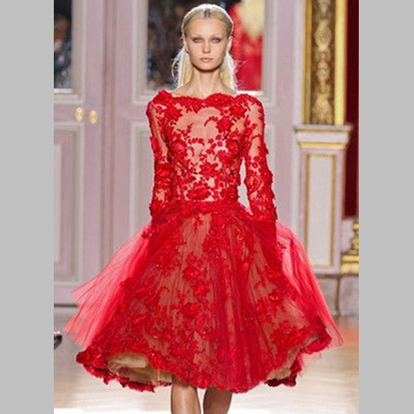 Elie Saab Dresses For Sale Long Sleeves Short Red Lace Ball Fashion ...