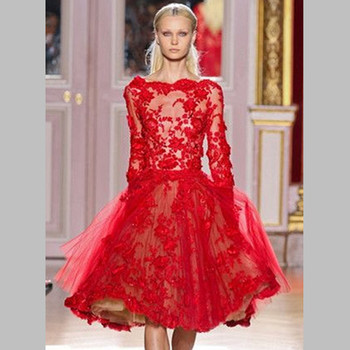 566906fbc Elie Saab Dresses For Sale Long Sleeves Short Red Lace Ball Fashion