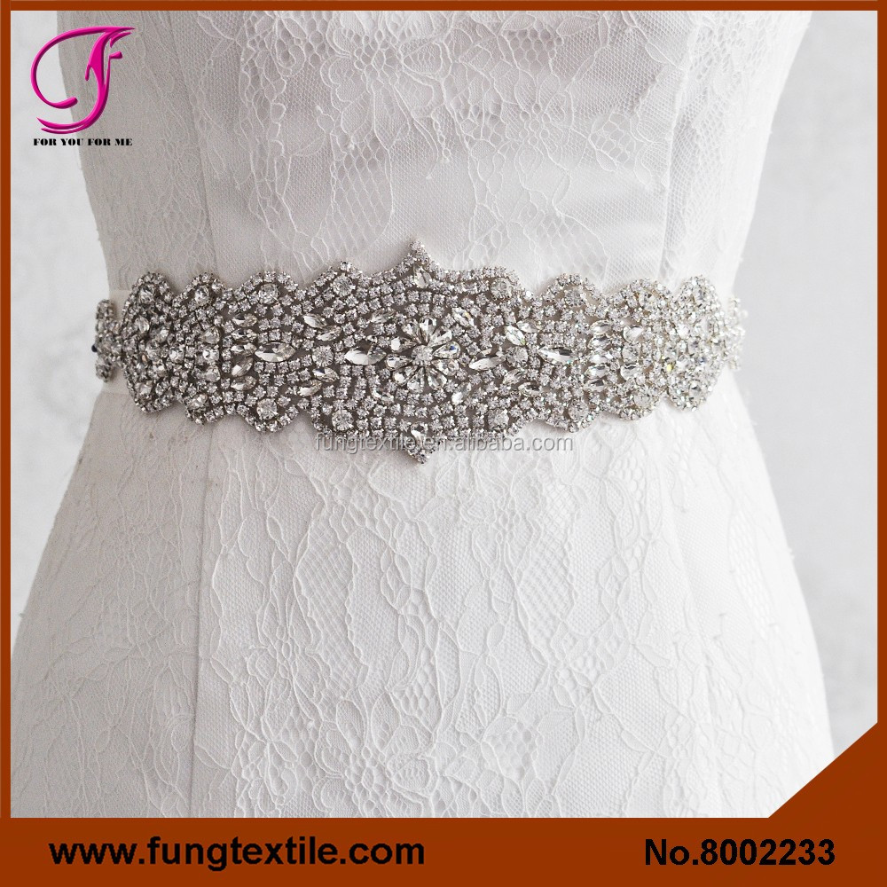 FUNG 8002233 Wedding Accessory Crystral Rhineston Belt Sash, Bride Rhinestone Sash