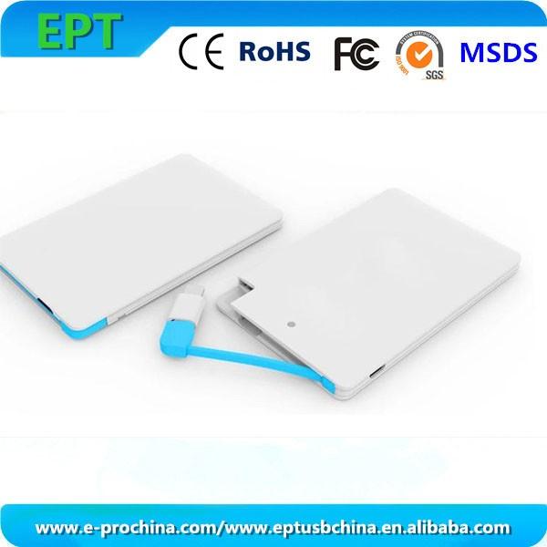 Credit Card Shape Built in Cable Thin 2200mAh 2500mAh Power Bank