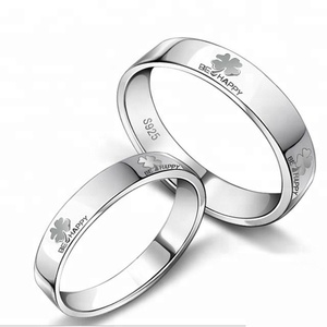 Cheap Custom Signet Lots 925 Sterling Silver Couple Lettering Rings Valentine's Day Gift