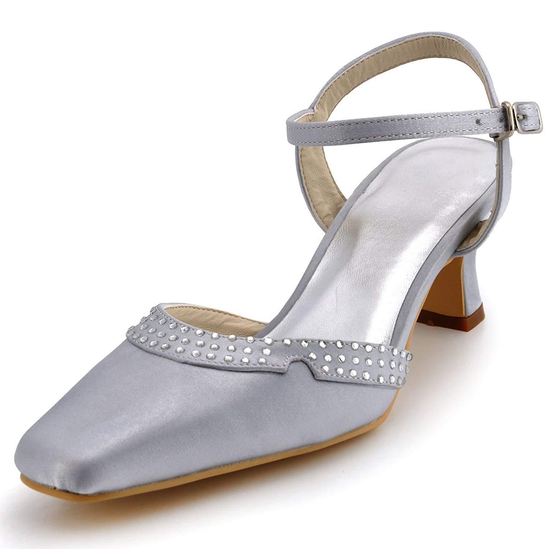 ElegantPark Women EP11033 Square Toe Low Heel Rhinestones Buckle Satin Wedding Bridal Shoes