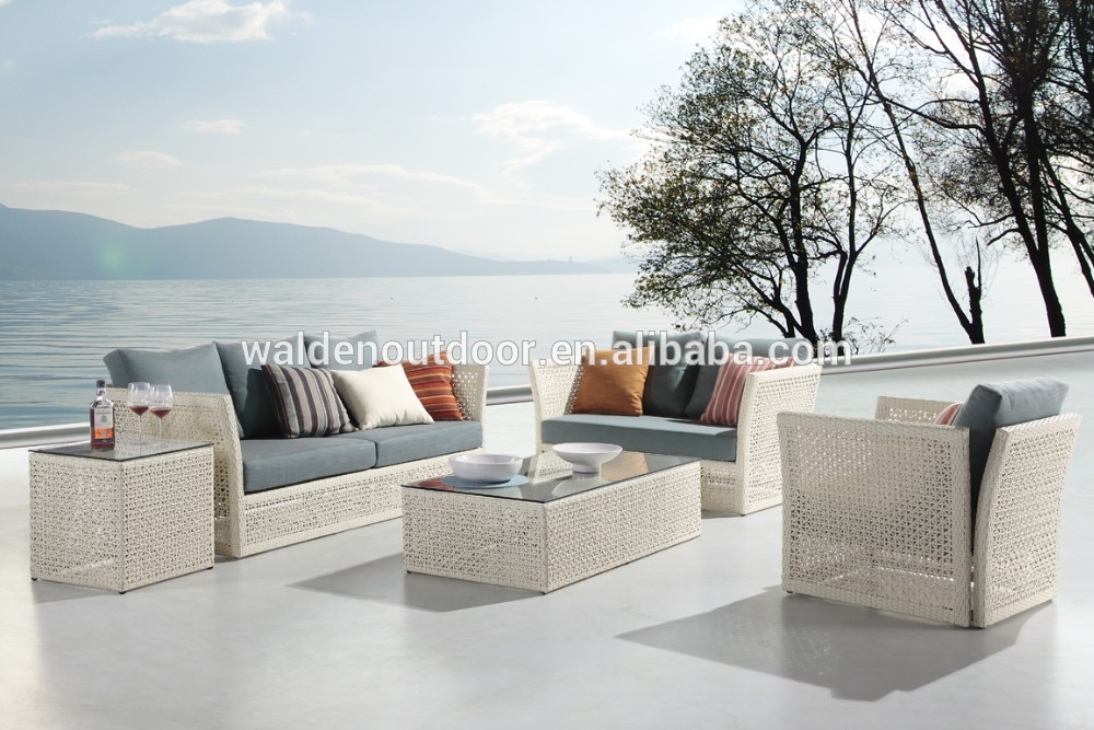 Aks gartenmöbel im freien weiß wicker rattan sofa setzt( DH- 9620 ...