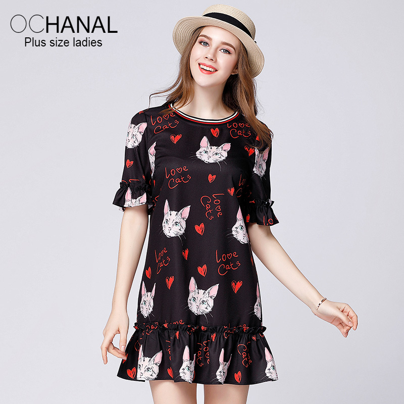 Young Women Casual Clothing Plus Size Lovely Ruffle Sleeve Dress