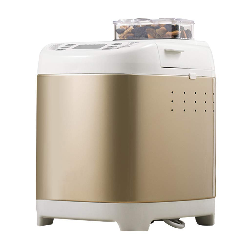 Bread machine, gold bread machine, you can make your own bread, home multi-function kneading machine, breakfast machine, easy to make breakfast (Color : Gold, Size : 282031cm)