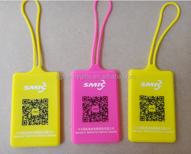 Cheap Custom Silicone ID Tag / Silicone Card Holder / Silicone Cover With Printing Bar Code, Size 9*6.5CM