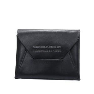 Top grain leather Envelope vintage card holder wallet coin pocket unisex for gift