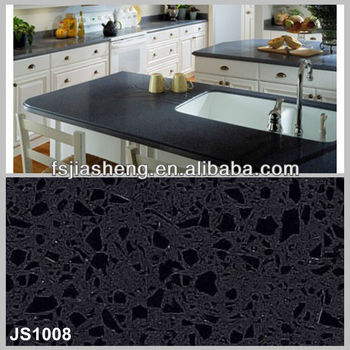 Black Onyx Artificial Quartz Stone Tiles Countertops In Foshan