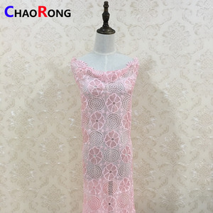 CRF0182 fashion latest luxury pink sequin embroidery fabric for women dresses