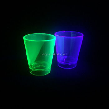 1.5 oz uv neon glowing in the dark shot glass acrylic