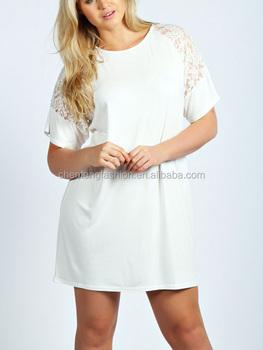 Chefon Sheer Lace Detail Short Sleeve Plus Size White T Shirt ...