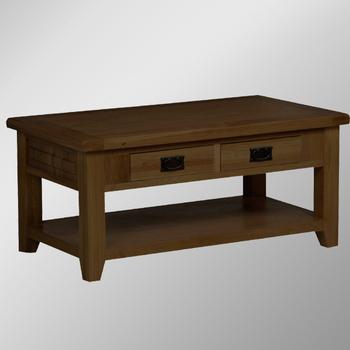 Rd Range Dark Solid Oak 2 Drawers Coffee Table Tables