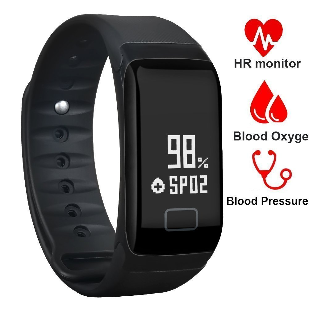 Fitness Tracker,Waterproof Activity Tracker with Heart Rate Blood Pressure Blood Oxygen Monitor,Smart Wristband with Calorie Counter Watch Pedometer Sleep Monitor Bluetooth Bracelet F1