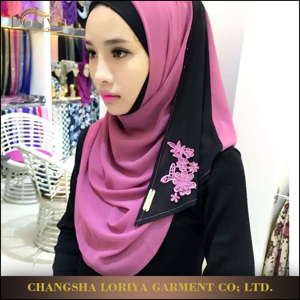 Wholesale Beautiful Women Islamic Turkish Instant Hijab,Embroidery Lace Thick Chiffon Tudung Hijab