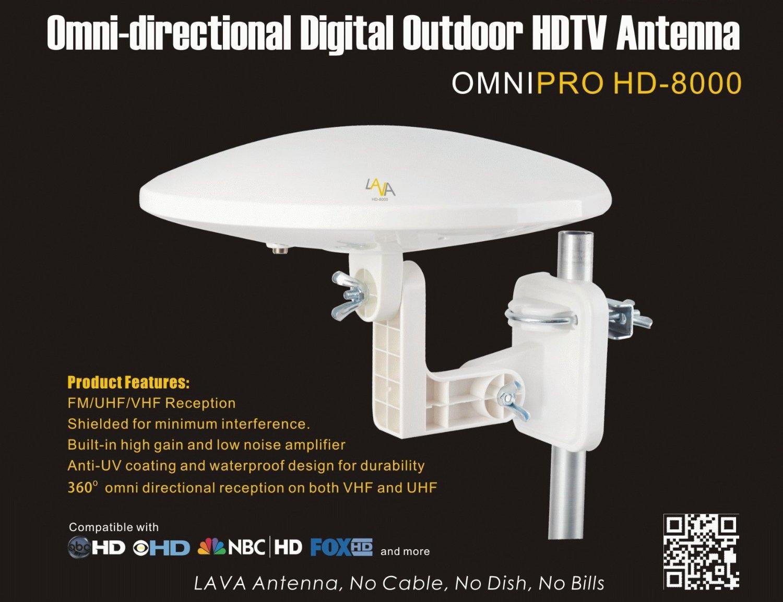 Lava HD-8000 OmniPro Version Omni-Directional HDTV Antenna: 50 miles