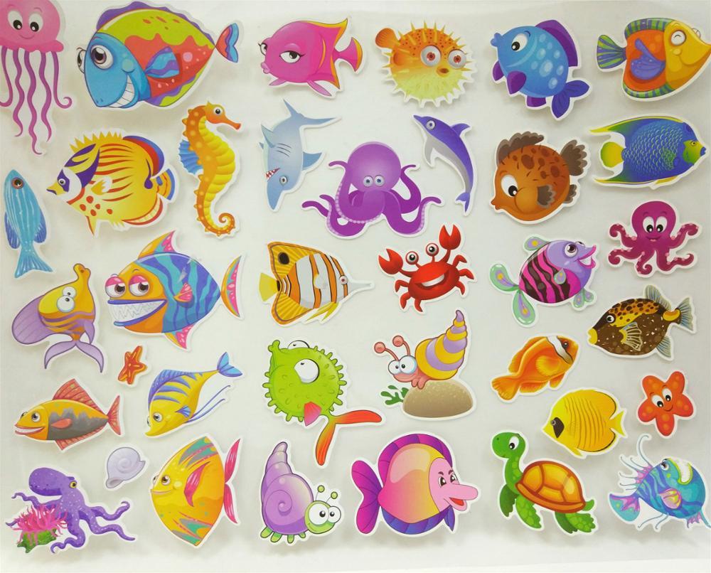 3d dibujos animados peces marinos pegatinas habitaci n de for Pegatinas de peces