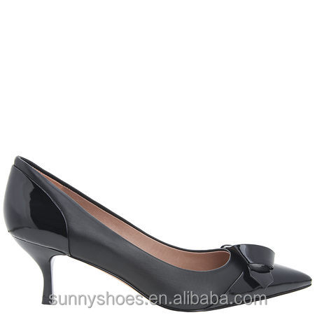toe single black pumps leather shoes pointed women New genuine w0qOYpWH