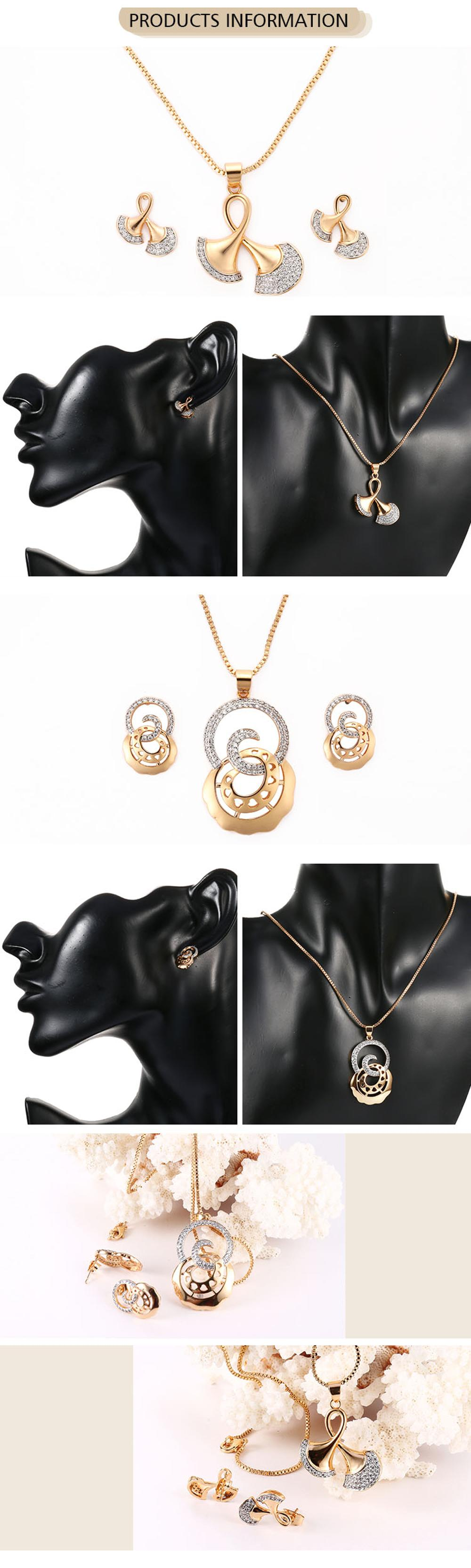 Factory Wholesale Fashion Jewelry Gold Necklace Earring Set Korea Imitation Jewellery