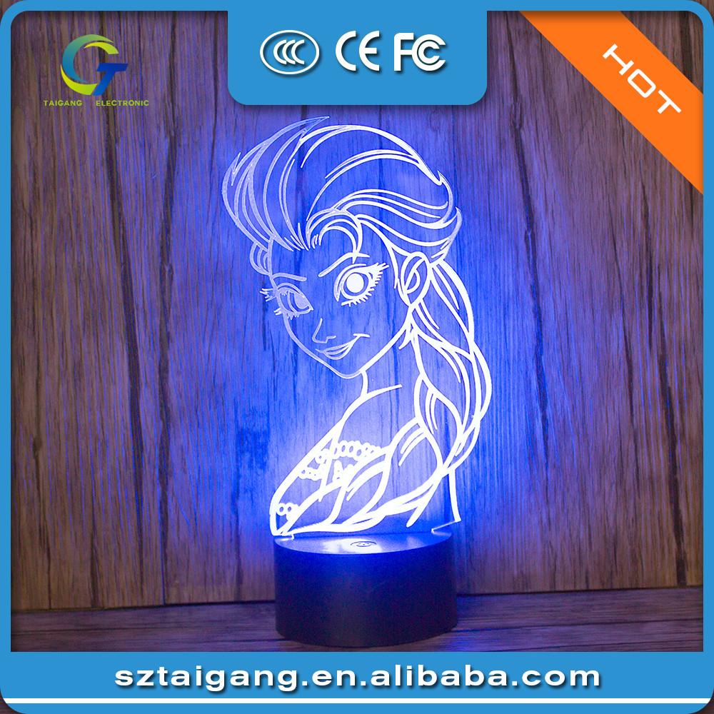 Frozen Queen 3D illusion Night light LED 7 color change desk table lamp  Lighting Decor Gadget - Frozen Queen 3d Illusion Night Light Led 7 Color Change Desk Table