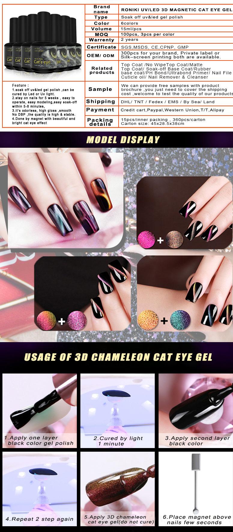 Roniki Dazzling Color Holographic Nail Glitter Magic Box Cat Eye Gel