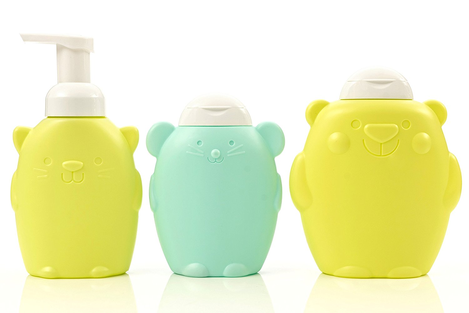 Newday Bottles, A Set of Kitty Cat Soap Dispenser with Foamer Pump Refillable, Bear Shampoo Plastic Bottle Dispenser, Mouse Shower Gel Dispenser with White Lid, 3-Pack, Colorful and Kid Friendly