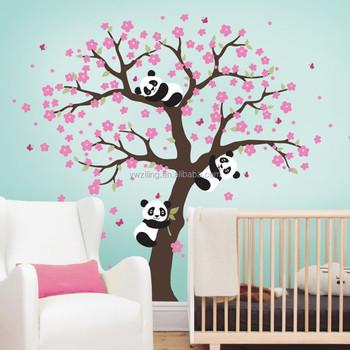 YA313 Mignon Panda Et Fleur De Cerisier Arbre Sticker Mural Pour Chambre  Du0027enfant Grand
