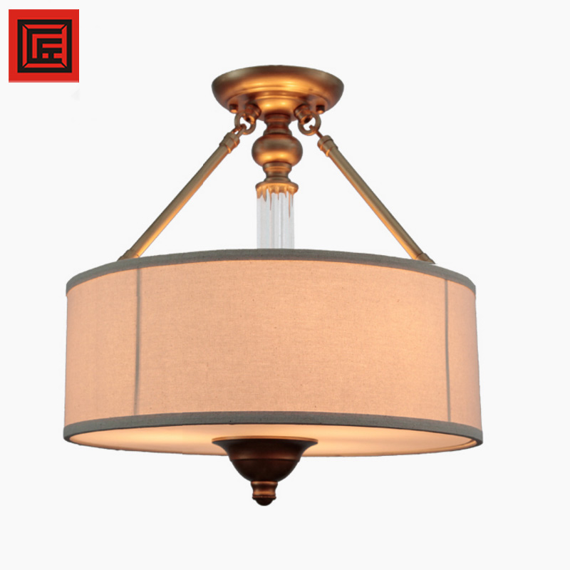Indoor Italian style light fixture bronze cloth lampshde E27 hanging ceiling lamp