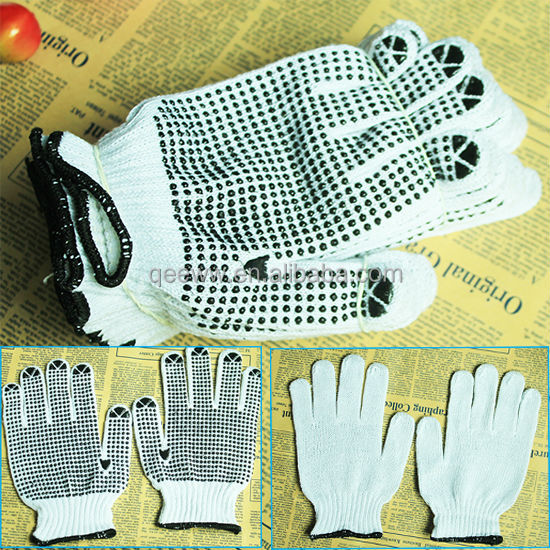 Wholesale White Safe Gloves with PVC dots,hot sale Polycotton pvc gloves