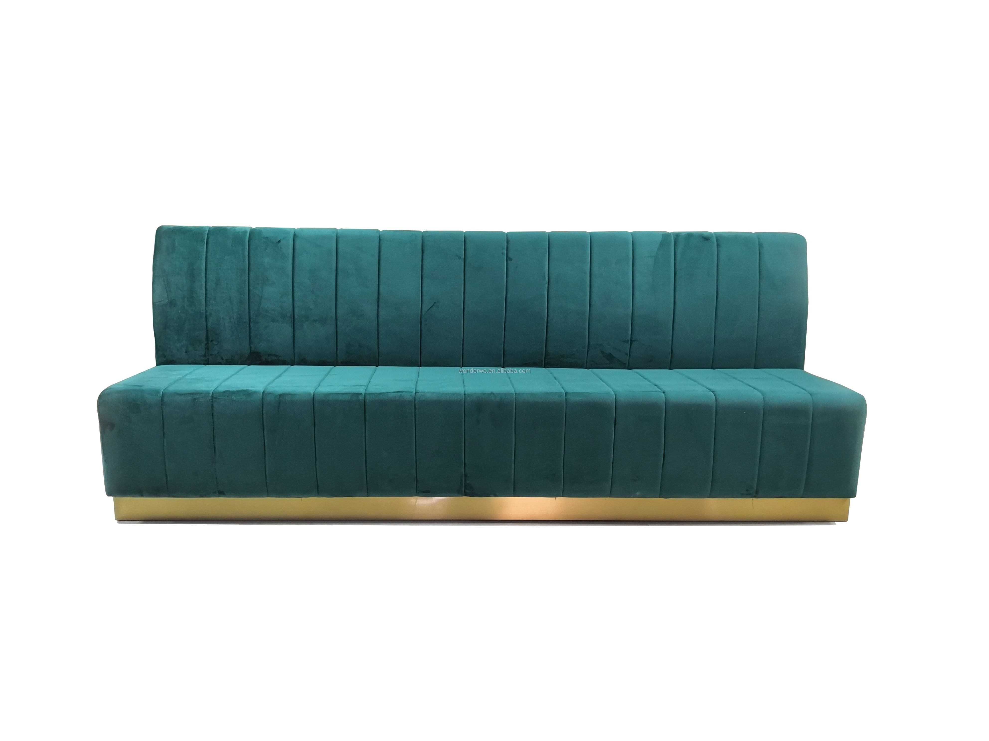 Green Velvet Restaurant Sofa Booth Seating Custom Make Long Wall Bench Gold Base Furniture View W Product Details From Guangzhou Wonderwo Limited On Alibaba Com