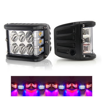 Truck Motorcycle Cube Side Shooter POD 45W Dual color Yellow Red Blue Strobe LED Work Light