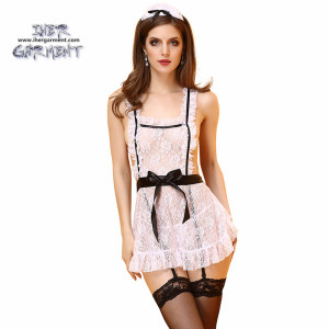 Hotsale Women Sexy Lingerie French Maid Costume Cosplay Uniform Apron Fancy Crotchless Dress wholesale IH-U991