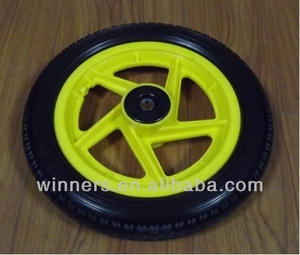 12 inch yellow solid children PU foam bicycle wheel
