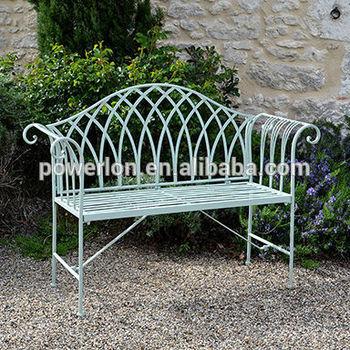 Light Green Folding Metal Garden Bench Wrought Iron