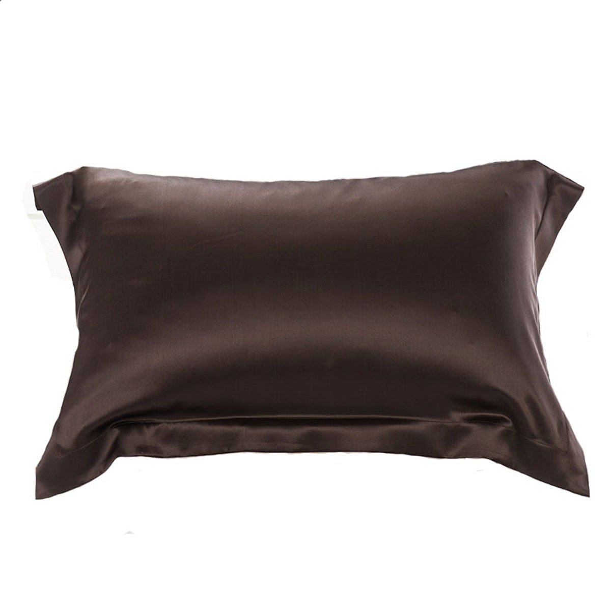 OOSILK 100% Organic Mulberry Silk Pillowcase Cover Long Standard for Wrinkle, 1pc (King, Chocolate)