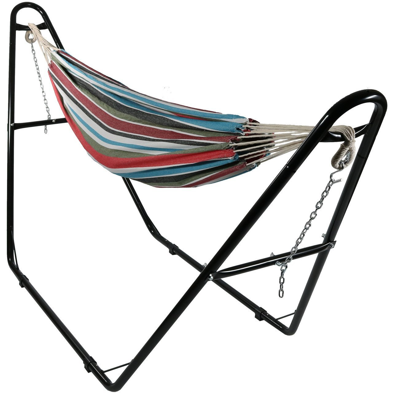 Sunnydaze Brazilian 2-Person Hammock with Universal Multi-Use Steel Stand, for Indoor or Outdoor Use, Cool Breeze, 440 Pound Capacity